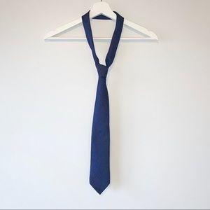 Eton blue herringbone silk neck tie